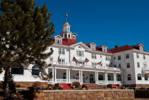 Angled view of Stanley Hotel in Estes Park, Colorado